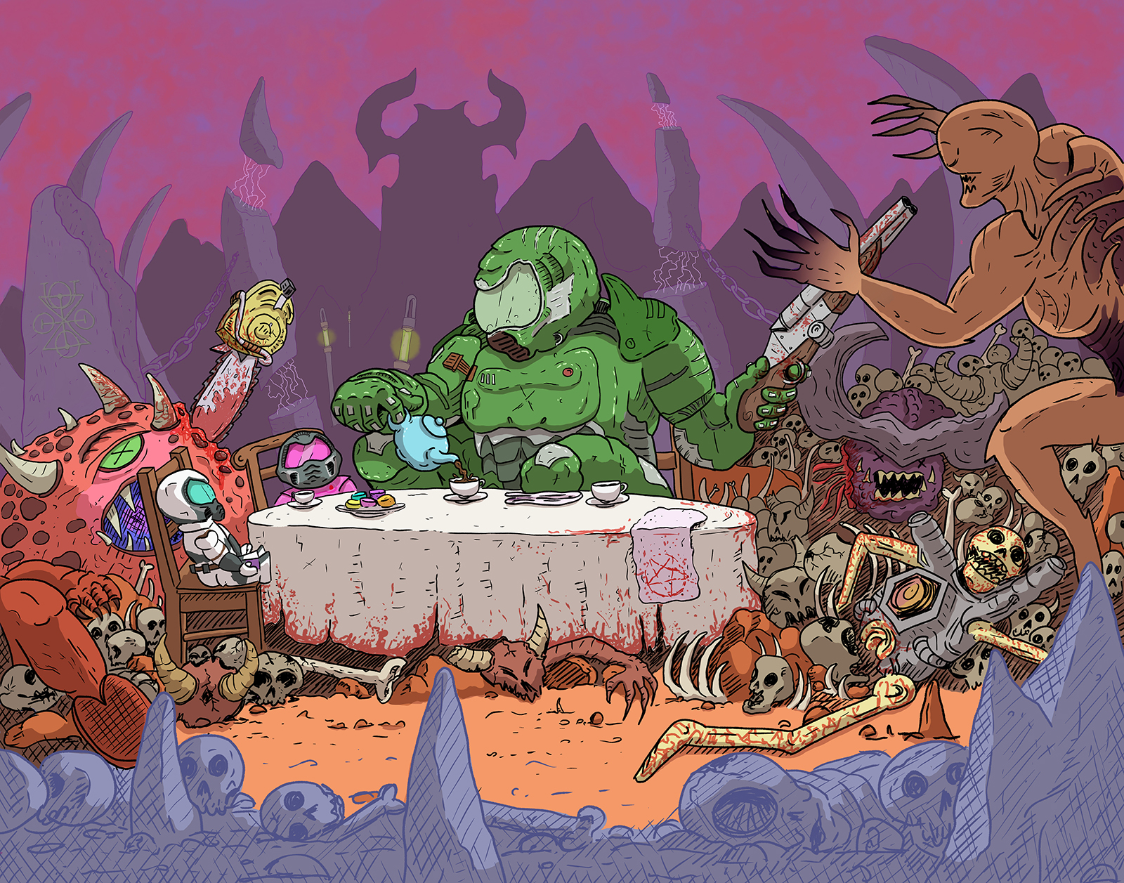 Illustration of the Doom Slayer having a tea party in hell.