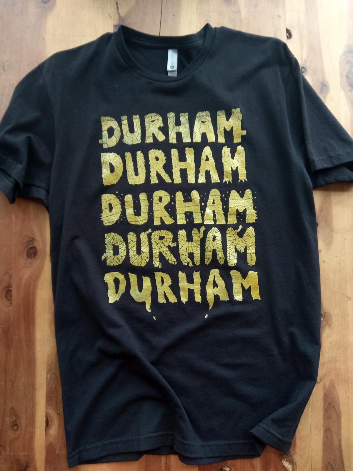 Durham North Carolina Monster Letters Gold Screen Printed on Black T-shirt